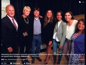 Colin and Latifa Woodhouse received the Sharp Rescue Award in New York City for their humanitarian efforts in Lesbos, Greece. From left: Colin Woodhouse; Mariana Goldman, the voice of Martha Sharp in the film; film director Ken Burns; Jessica, Sophia, Alexandra and Latifa Woodhouse