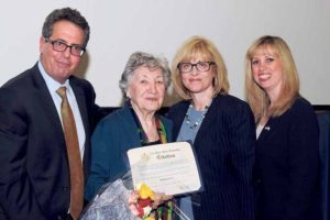 From left: JCRC-LI's Chair Rob Solomon, Holocaust survivor Ruth Mermelstein, Assemblywoman Michelle Schimel and JCRC's Executive Director Mindy Perlmutter