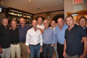The Men's Senior Tennis Team at their victory dinner (from left): Ray Kerstein, Mort Seitelman, Team Captain Peter Kornblum, Gary Mandell, Allen Wexler, Earle Kantor, Peter Franzoni, Alan Dunst, Peter Kremerov and Bob Copjec; Seth Kaplan and Stewart Sheftel are not pictured.