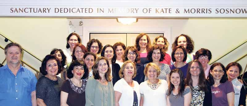 The participants in Temple Israel of Great Neck's all-woman-led weekend of services with their teacher and coach, the congregation's cantor, Raphael Frieder (left)