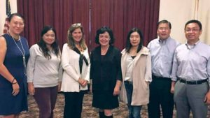 From left: Mo Chen, GNCA Copresident Ke Wei, Lori Beth Schwartz of GN UPTC, COPAY CEO María Elisa Cuadra-Fernández, Chen Ye, GNCA Copresident Nathan Fong and Wen Wu