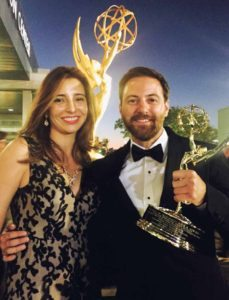 Christopher D'Elia with his wife, Andrea Alegria, at the Emmy Awards