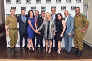 From left: IDF Staff Sgt. Mishel; event honorees Marc Puntus and Freddi and Harvey Kadden; FIDF National Director and CEO Major General (Res.) Meir Klifi-Amir and his wife, Brigadier General (Res.) Gila Klifi-Amir; event honorees Howard and Rachel Hershenhorn, FIDF National Board Member and Long Island Chairman Ronny Ben-Josef; and IDF Staff Sergeant (Res.) Daniel