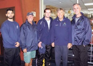 From left: Rink Manager and Bears/Bruins Coach Napoleon Georgeatos, Rink Facility Manager and Director of Bears Hockey Dan Marsella, Rec Aide and Assistant Director Bears Hockey Rob Campbell, Commissioner Daniel M. Nachmanoff and Skate School Director John Castro-Tie