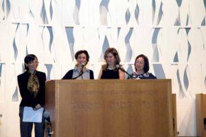 From left: Lily Wang, Rabbi Tara, Lori Beth Schwartz and Else, then president of GNCA, at the Chinese/Jewish Yom HaShoah celebration