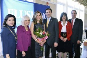 When Lori Beth Schwartz was honored at the Town of North Hempstead Women's Roll of Honor Breakfast, she dedicated her award to the memory of Lily Wang. From left: Councilwoman Anna Kaplan, Supervisor Judi Bosworth, Schwartz, Town Clerk Wayne Wink, Councilwoman Lee Seeman and Receiver of Taxes Charles Berman
