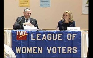 From left: candidates for the NYS Senate District 7 seat, Adam Haber (D) and Elaine Phillips (R)
