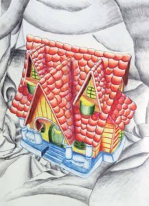 "Great Neck North High senior Catherine Kim's ""Quaint Cottage"" was created using graphite and colored pencils."
