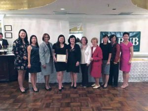 The Great Neck Chinese Association was among those honored at the COPAY lunch (from left): Mo Chen, Cheng Ye, Yvonne Maria Mowatt, Ke Wei, COPAY CEO Maria Elisa Cuadra, Elsie Esquivel, Ann Finkelstein, Yanlin Yue, Betty Leong and ChenXin Xu.