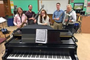 The GNPS Show Band that will perform at Lincoln Center (from left): Jacquelyn Tomlet, Matthew Trinkwald, Janine Robinson, Patrick Kennedy and Joseph Rutkowski. (Photo by North High student Maya Mualem)