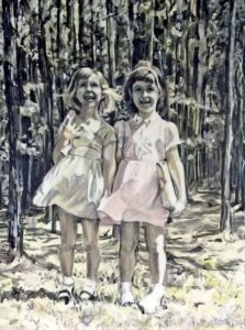 Artist Rosemary Sloggatt and her sister