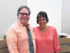 Great Neck Library Business Manager Neil Zitofsky and Board of Trustees President Marietta DiCamillo upon the occasion of Zitofsky's retirement from the library at the end of the month.