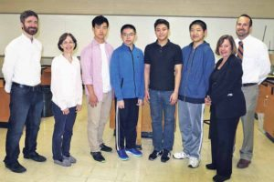 South High School Siemens semifinalists (starting third from left): Shawn Kang, Hanxuan (Eric) Kuang, Aric Zhuang and Jaysen Zhang; with them (from left): science research teachers Drs. James Truglio and  Carol Hersh, Principal Susan Elliott and Bradley Krauz, department chair