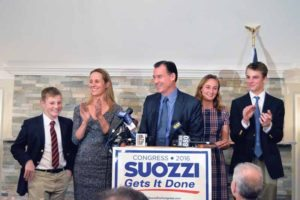 The Congressman-elect was joined on stage by his wife and three children.