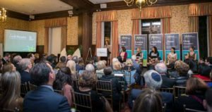 Tara Slone-Goldstein, president of The Jewish Education Project, presenting The Jewish Education Project Young Pioneers Award 2016 recipients at the annual celebration benefit (from left): Jen Vegh, Rabbi Leora Frankel, Ariella Falack, Jane Tuv and Ora Fruchter