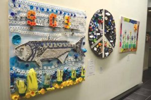 Students' works are  on display as part of North Hempstead's annual Recycled Artwork Contest.