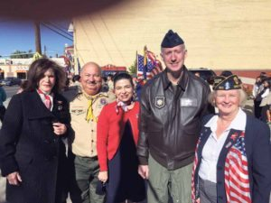 From left: Councilwoman Lee R. Seeman, Great Neck Boy Scout Troop 10 Leader Don Panetta, Councilwoman Anna M. Kaplan, Colonel David Lange and Parade Commander Louise McCann, commander of the Charles A. Fowler American Legion Post #160
