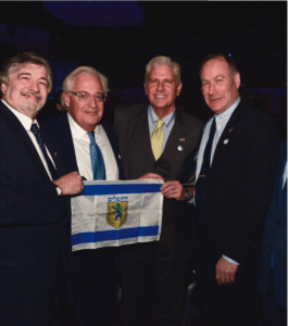 From left: Great Neck activist Dr. Paul Brody, one of the dinner's associate chair people; President-elect Donald Trump's appointee for U.S. Ambassador to Israel David Friedman, Esq., president of American Friends of Bet El; Town of Hempstead Councilman Bruce Blakeman and Great Neck activist Jeffrey Wiesenfeld, who are dreaming of the U.S. Embassy moving to Jerusalem. (Photo by Joseph Lobascio, Jr.)