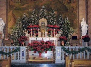 St. Aloysius Roman Catholic Church is decorated for the holidays.