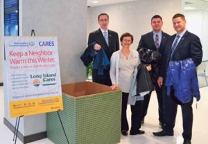 From left: Metropolitan Commercial Bank Vice President and Market Sales Manager George Lotto, Vice President and Relationship Manager Vivian Safir, Assistant Vice President and Assistant Branch Manager Phablo DeCosta, and Vice President and Relationship Manager Rocco Zito kick off the bank's coat drive.