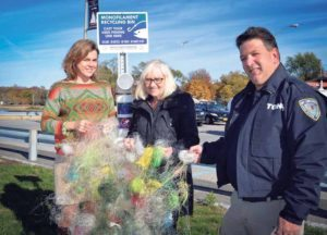 From left: Chief Sustainability Officer Erin Reilley, North Hempstead Town Supervisor Judi Bosworth and Chief Bay Constable  Mal Nathan with the monofilament fishing line that was collected through the town's collection receptacles.