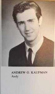 Andy Kaufman's Great Neck North yearbook photo.