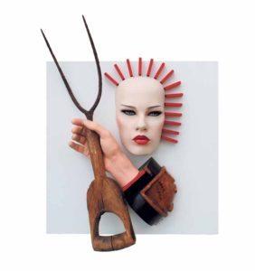 """Aphrodite Gothic,"" 2015; wood, iron, plastic; 18"" x 24"" x 8"""