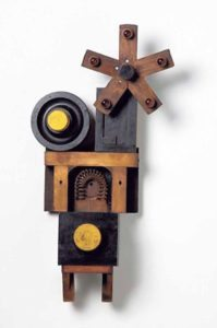 """""""Turnabout Is Fair Play,"""" 2009; wood, iron, glass; 28"""" x 18"""" x 6"""""""