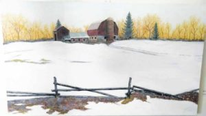 """Barn in Snow"" by Mario Tucci is one of the first paintings visitors see when entering the gallery. The contrast of the bright white snow against the yellow sky and the cozy barn creates an inviting ambiance."