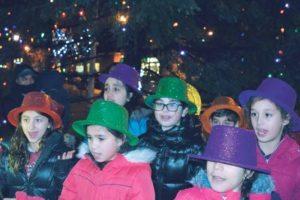 The Silverstein Hebrew Academy children's choir sang Hanukkah songs.