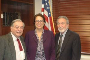 Great Neck Water Pollution Control District Commissioner Patty Katz is flanked by Commissioners Jerry Landsberg and Steve Reiter following her swearing in.