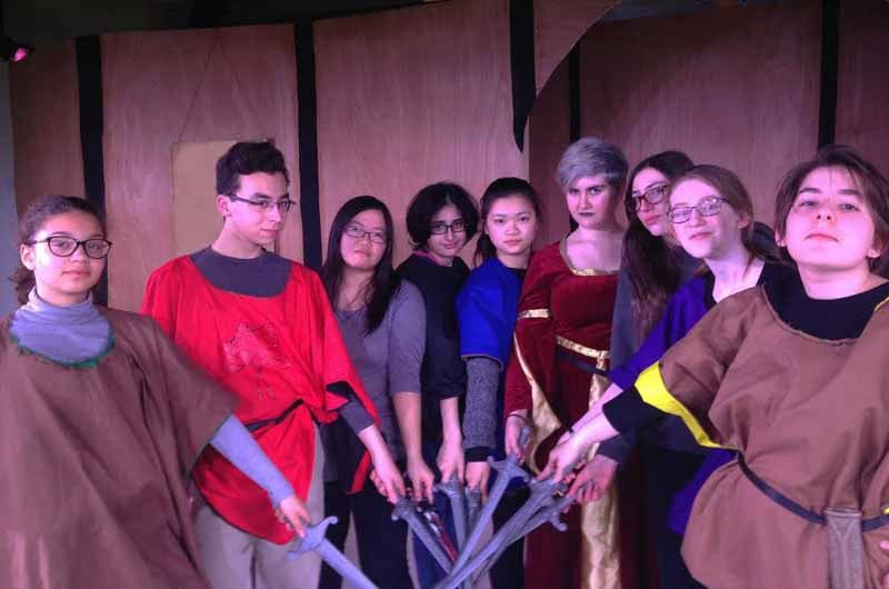Cast members of Levels' Macbeth in rehearsal, from left: Nina Phillips, Zach Lee, Joy Chang, Sara Chitsaz, Elana Xu, Rayna Cooke, Simona Fine, Phoebe Gordon and Rebecca Hirschhorn. (Photo by Barry Weil)