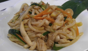 Yaki Udon (stir fried noodles) with organic chicken and vegetables is recommended for the less adventurous diner who wants something filling.