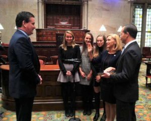 Senator Phillips was sworn in to the New York State Senate by Senate Majority Leader John Flanagan, surrounded by her daughters Sarah, Kate and Hannah and husband, Andy.