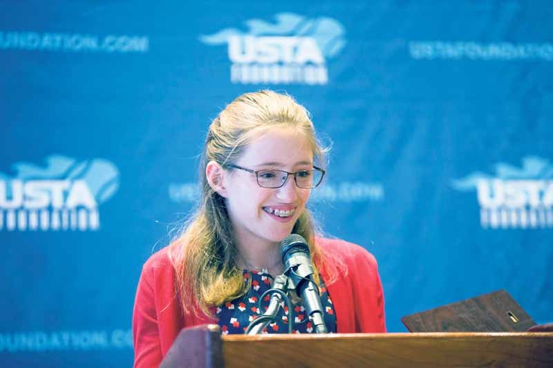 Great Neck South's Sophia Schutte won the NTJL Arthur Ashe Essay Contest. (Photo by USTA/Steven Freeman)