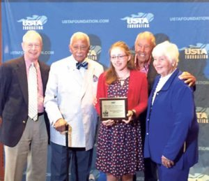 David Dinkins, Nick Bollettieri and the NJTL cofounders flank Sophia Schutte.