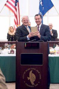 Former-congressman Steve Israel congratulates newly elected Congressman Tom Suozzi.