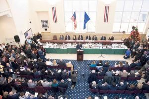 A full house attended Suozzi's swearing in ceremony in Glen Cove City Hall.