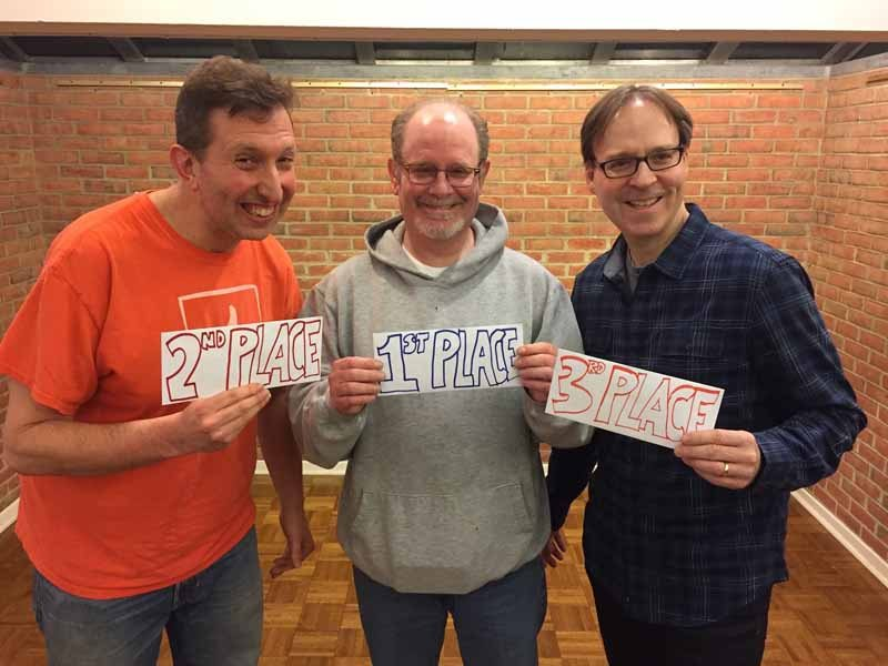 From left: Dave Kerpen came in second place, Ron Bernstein won first prize and Leigh Feldman placed third.