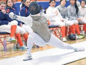 South High Junior Ariel Kang makes a lunge.