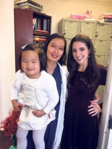 Dr. Hetty Chung holding daughter, Isabella, with Dana Arschin, FOX 5 reporter, at the filming of a recent FOX News segment