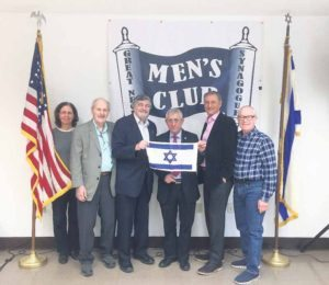 From left: Elizabeth Berney, Esq., Long Island-Queens director ZOA; Milt Mitzner, JPEF president; Dr. Paul Brody, JPEF Vice President and GNS Men's Club Steering Committee member; Dr. Mordechai Kedar; Dr. Rob Knepper, GNS Men's Club vice president; and Steve Blumner, GNS Men's Club Steering Committee member (Photo by BrodyBunch Productions)