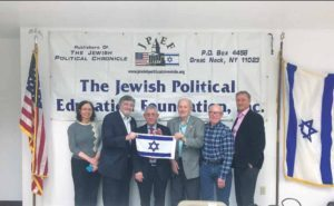 From left: Elizabeth Berney, Esq., Long Island-Queens director ZOA; Dr. Paul Brody, JPEF Vice President and GNS Men's Club Steering Committee member; Dr. Mordechai Kedar; Milt Mitzner, JPEF president; Steve Blumner, GNS Men's Club Steering Committee member; and Dr. Rob Knepper, GNS Men's Club vice president (Photo by BrodyBunch Productions)