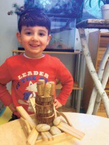 Morah Reena's Nursery Bet students build their trees.